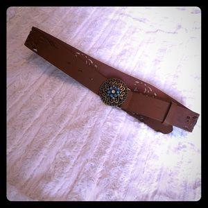 Accessories - Brown Belt with Gemstone Buckle